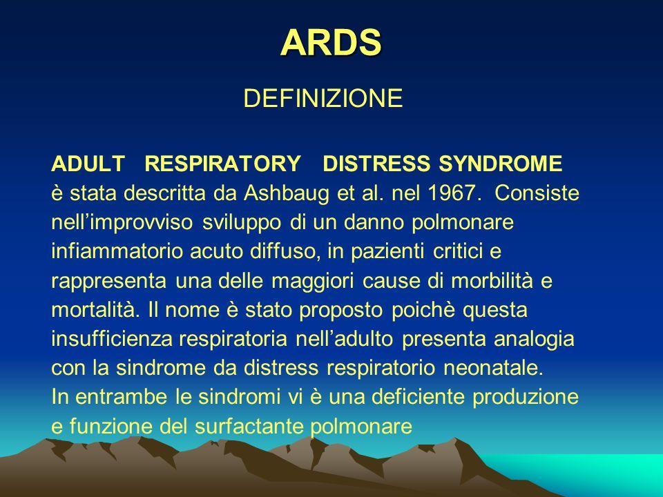 ARDS DEFINIZIONE ADULT RESPIRATORY DISTRESS SYNDROME è stata descritta da Ashbaug et al.