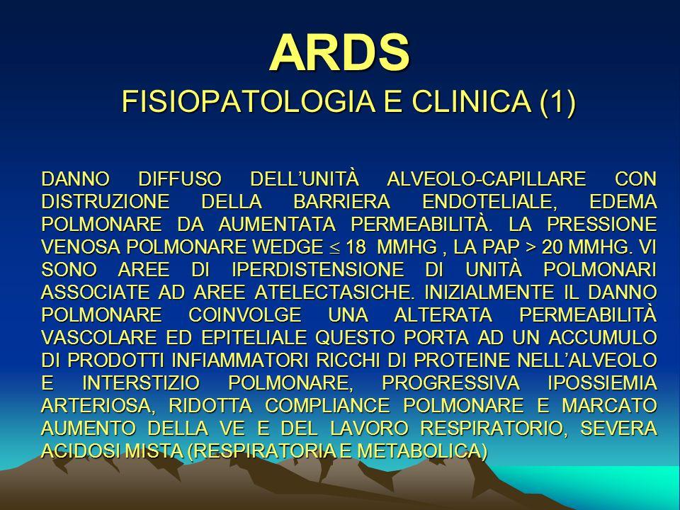 ARDS FISIOPATOLOGIA E CLINICA (1) DANNO DIFFUSO DELLUNITÀ ALVEOLO-CAPILLARE CON DISTRUZIONE DELLA BARRIERA ENDOTELIALE, EDEMA POLMONARE DA AUMENTATA PERMEABILITÀ.