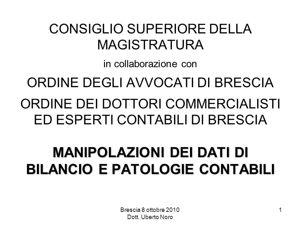 Brescia 8 ottobre 2010 Dott. Uberto Noro 1 MANIPOLAZIONI DEI DATI DI BILANCIO E PATOLOGIE CONTABILI CONSIGLIO SUPERIORE DELLA MAGISTRATURA in collabor