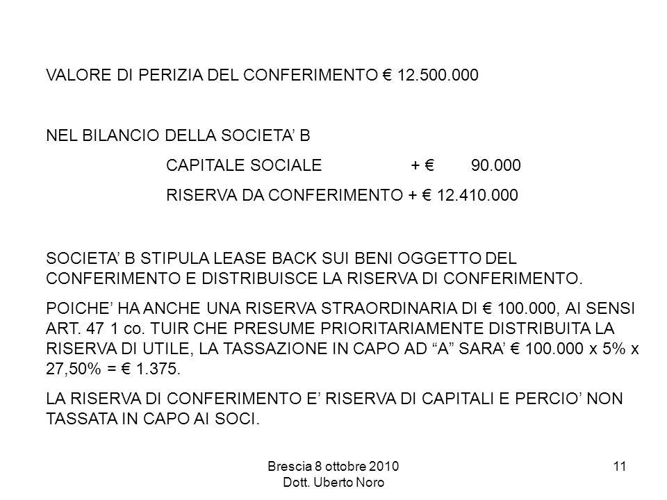 Brescia 8 ottobre 2010 Dott. Uberto Noro 11 VALORE DI PERIZIA DEL CONFERIMENTO 12.500.000 NEL BILANCIO DELLA SOCIETA B CAPITALE SOCIALE + 90.000 RISER