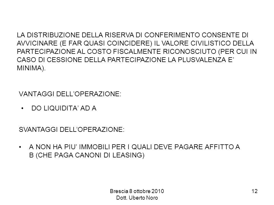 Brescia 8 ottobre 2010 Dott. Uberto Noro 12 LA DISTRIBUZIONE DELLA RISERVA DI CONFERIMENTO CONSENTE DI AVVICINARE (E FAR QUASI COINCIDERE) IL VALORE C