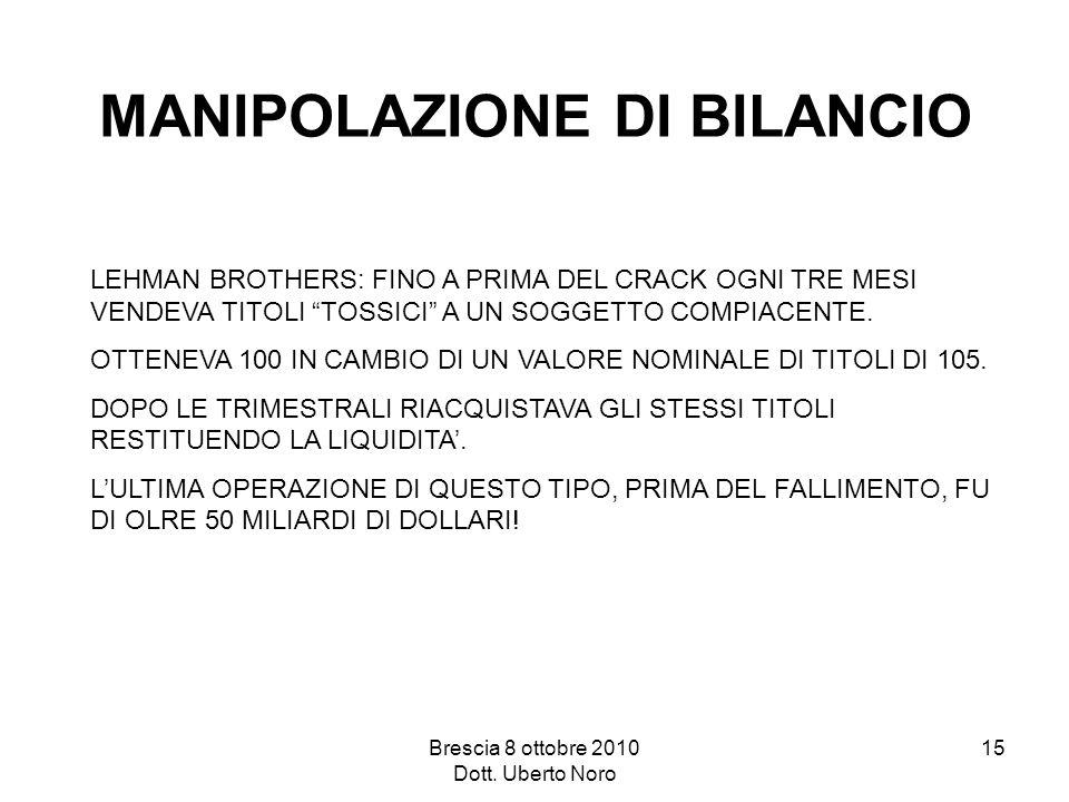 Brescia 8 ottobre 2010 Dott. Uberto Noro 15 MANIPOLAZIONE DI BILANCIO LEHMAN BROTHERS: FINO A PRIMA DEL CRACK OGNI TRE MESI VENDEVA TITOLI TOSSICI A U