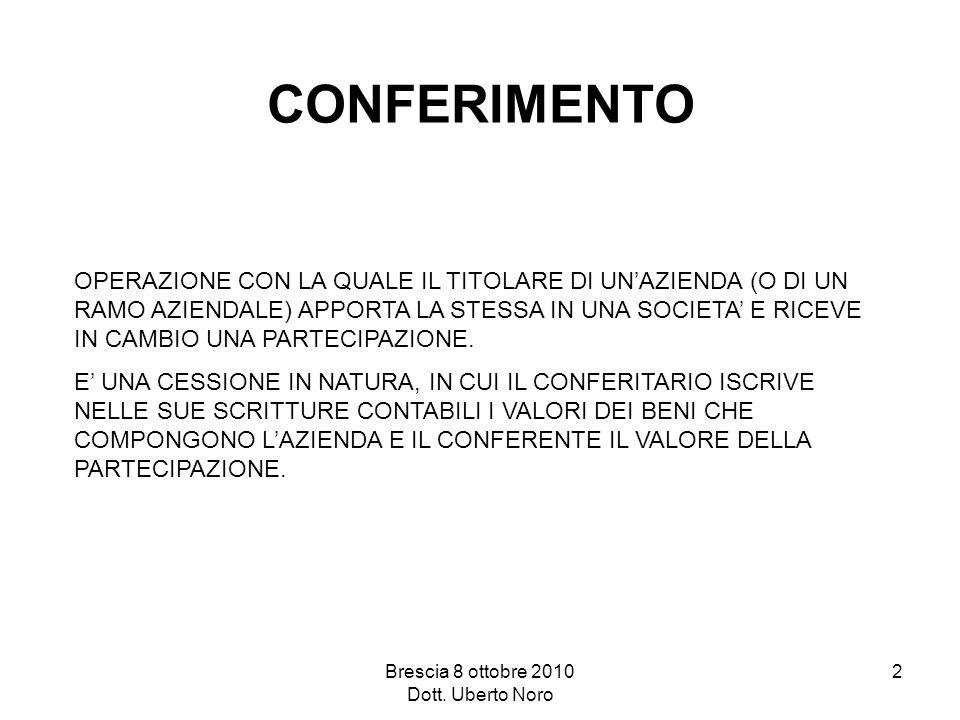 Brescia 8 ottobre 2010 Dott. Uberto Noro 2 CONFERIMENTO OPERAZIONE CON LA QUALE IL TITOLARE DI UNAZIENDA (O DI UN RAMO AZIENDALE) APPORTA LA STESSA IN