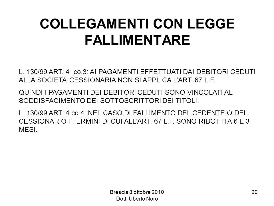 Brescia 8 ottobre 2010 Dott. Uberto Noro 20 COLLEGAMENTI CON LEGGE FALLIMENTARE L. 130/99 ART. 4 co.3: AI PAGAMENTI EFFETTUATI DAI DEBITORI CEDUTI ALL