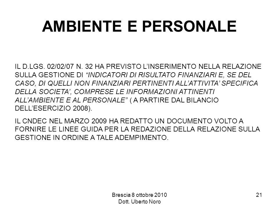Brescia 8 ottobre 2010 Dott. Uberto Noro 21 AMBIENTE E PERSONALE IL D.LGS. 02/02/07 N. 32 HA PREVISTO LINSERIMENTO NELLA RELAZIONE SULLA GESTIONE DI I