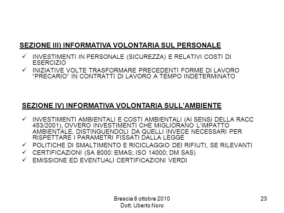 Brescia 8 ottobre 2010 Dott. Uberto Noro 23 INVESTIMENTI IN PERSONALE (SICUREZZA) E RELATIVI COSTI DI ESERCIZIO INIZIATIVE VOLTE TRASFORMARE PRECEDENT