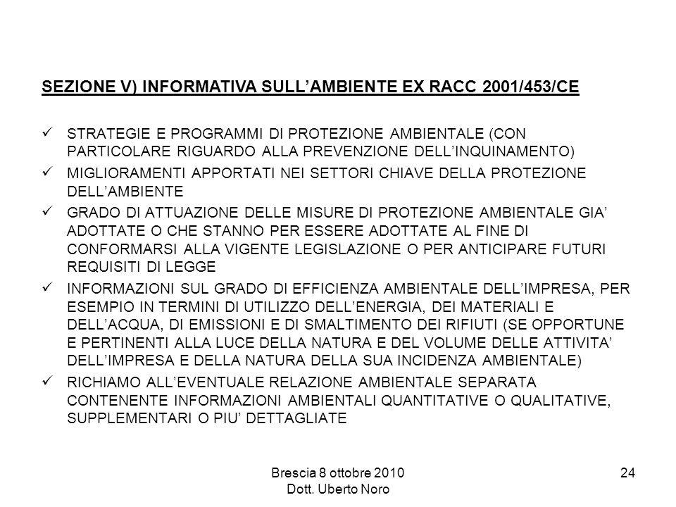 Brescia 8 ottobre 2010 Dott. Uberto Noro 24 STRATEGIE E PROGRAMMI DI PROTEZIONE AMBIENTALE (CON PARTICOLARE RIGUARDO ALLA PREVENZIONE DELLINQUINAMENTO