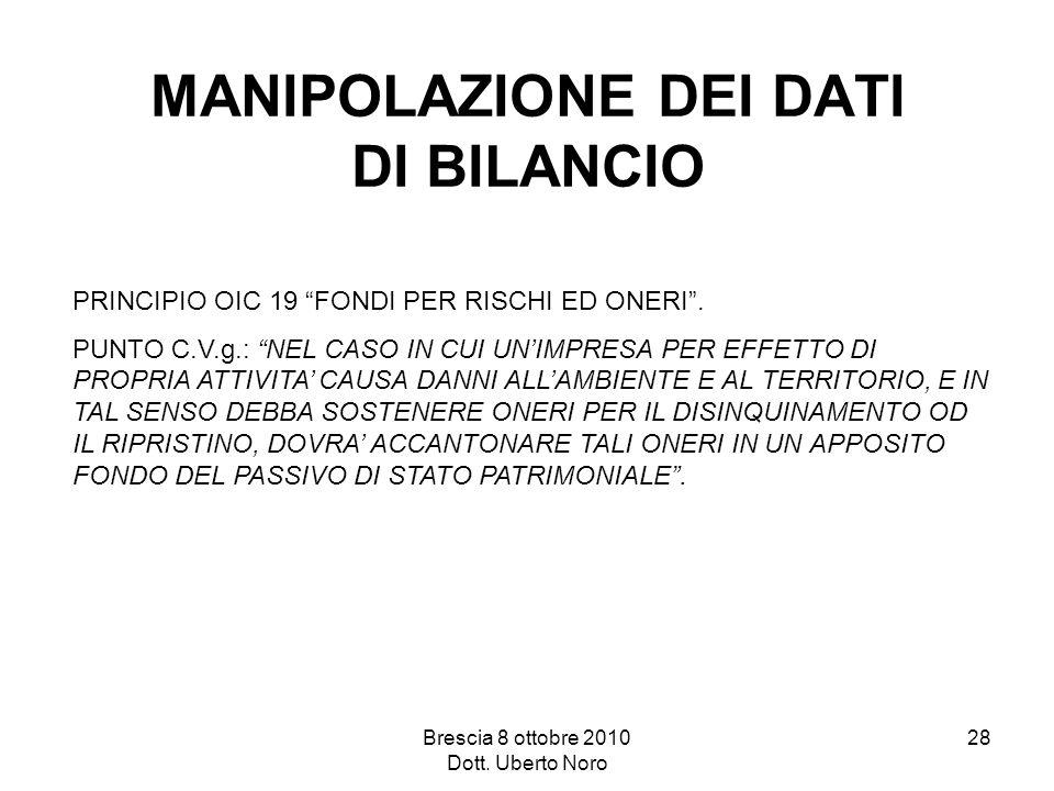 Brescia 8 ottobre 2010 Dott. Uberto Noro 28 MANIPOLAZIONE DEI DATI DI BILANCIO PRINCIPIO OIC 19 FONDI PER RISCHI ED ONERI. PUNTO C.V.g.: NEL CASO IN C