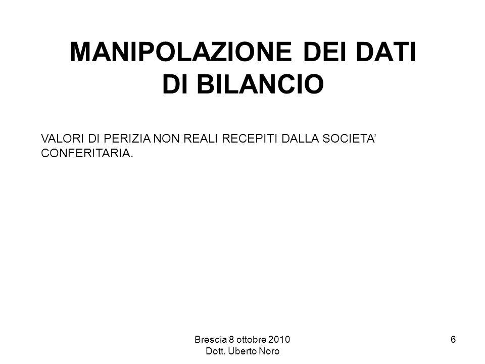 Brescia 8 ottobre 2010 Dott. Uberto Noro 6 MANIPOLAZIONE DEI DATI DI BILANCIO VALORI DI PERIZIA NON REALI RECEPITI DALLA SOCIETA CONFERITARIA.