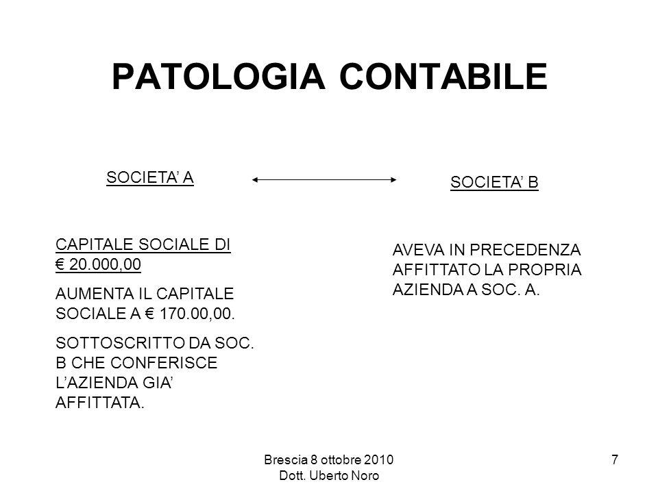 Brescia 8 ottobre 2010 Dott. Uberto Noro 7 PATOLOGIA CONTABILE SOCIETA A CAPITALE SOCIALE DI 20.000,00 AUMENTA IL CAPITALE SOCIALE A 170.00,00. SOTTOS