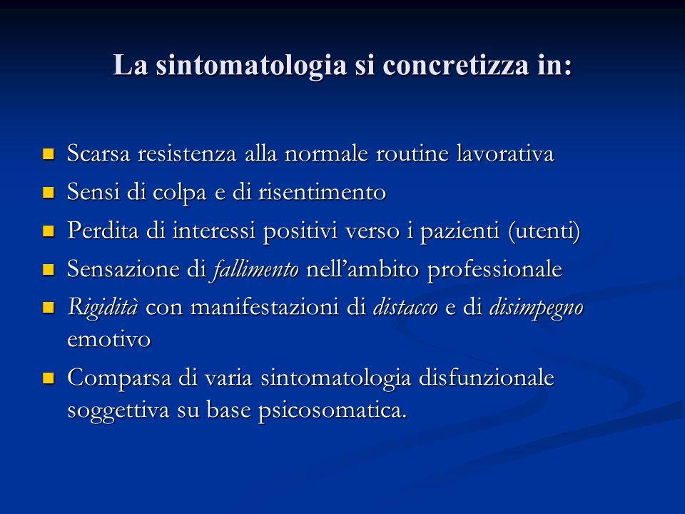 La sintomatologia si concretizza in: Scarsa resistenza alla normale routine lavorativa Scarsa resistenza alla normale routine lavorativa Sensi di colp