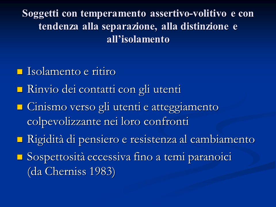 Soggetti con temperamento assertivo-volitivo e con tendenza alla separazione, alla distinzione e allisolamento Isolamento e ritiro Isolamento e ritiro