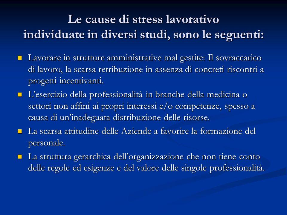 Le cause di stress lavorativo individuate in diversi studi, sono le seguenti: Lavorare in strutture amministrative mal gestite: Il sovraccarico di lav