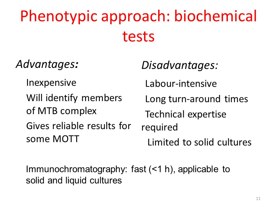 Phenotypic approach: biochemical tests Advantages: Inexpensive Will identify members of MTB complex Gives reliable results for some MOTT Disadvantages