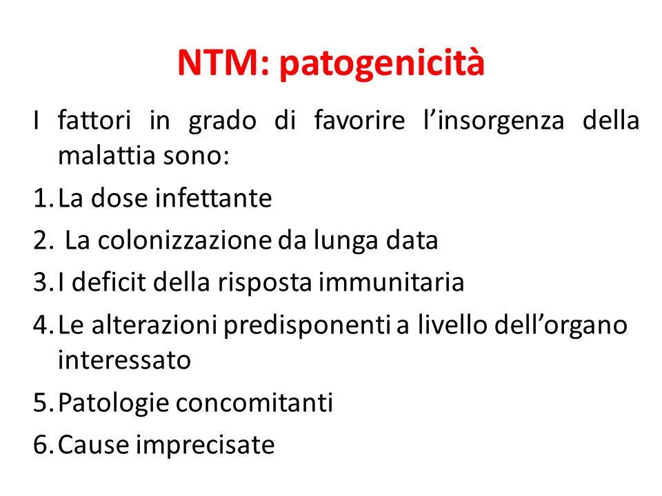 NTM: patogenicità I fattori in grado di favorire linsorgenza della malattia sono: 1.La dose infettante 2. La colonizzazione da lunga data 3.I deficit
