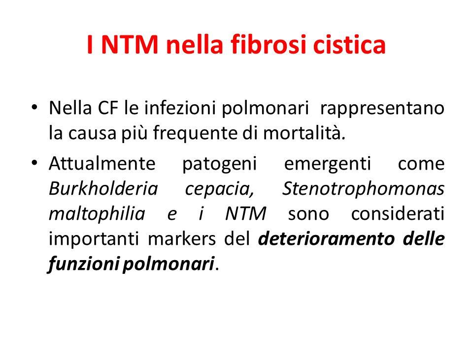 I NTM nella fibrosi cistica Nella CF le infezioni polmonari rappresentano la causa più frequente di mortalità. Attualmente patogeni emergenti come Bur