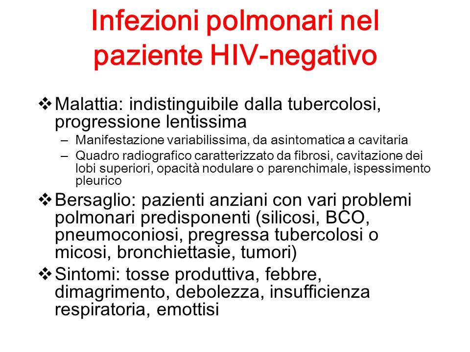 Infezioni polmonari nel paziente HIV-negativo Malattia: indistinguibile dalla tubercolosi, progressione lentissima – Manifestazione variabilissima, da