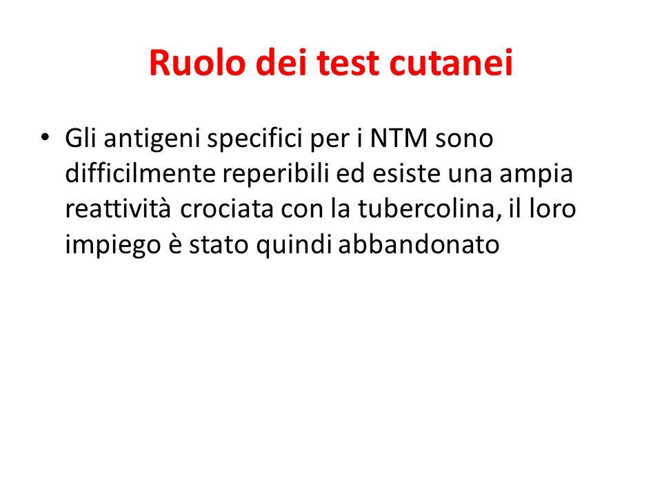 Ruolo dei test cutanei Gli antigeni specifici per i NTM sono difficilmente reperibili ed esiste una ampia reattività crociata con la tubercolina, il l