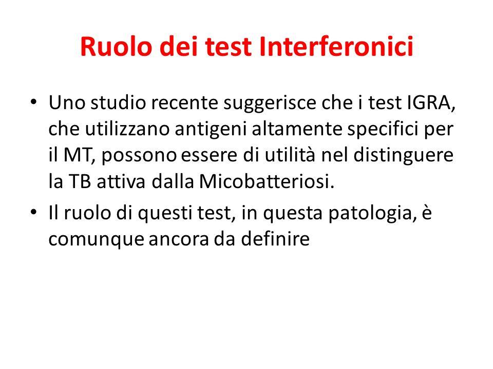 Ruolo dei test Interferonici Uno studio recente suggerisce che i test IGRA, che utilizzano antigeni altamente specifici per il MT, possono essere di u