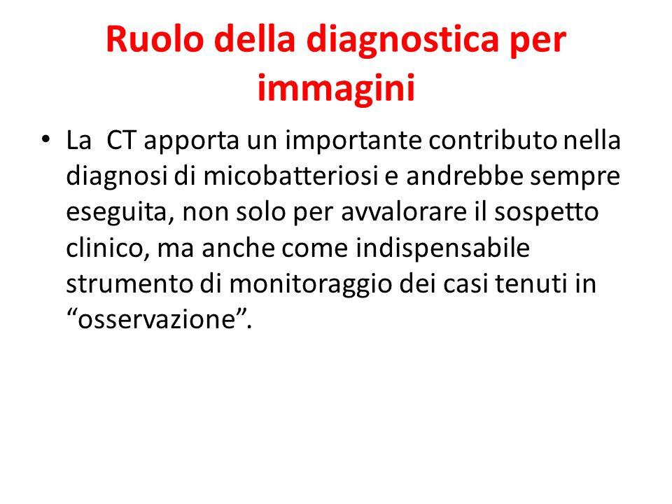 Ruolo della diagnostica per immagini La CT apporta un importante contributo nella diagnosi di micobatteriosi e andrebbe sempre eseguita, non solo per