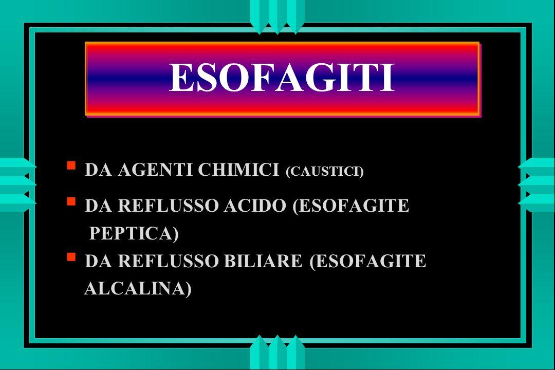 ESOFAGITI DA AGENTI CHIMICI (CAUSTICI) DA REFLUSSO ACIDO (ESOFAGITE PEPTICA) DA REFLUSSO BILIARE (ESOFAGITE ALCALINA)