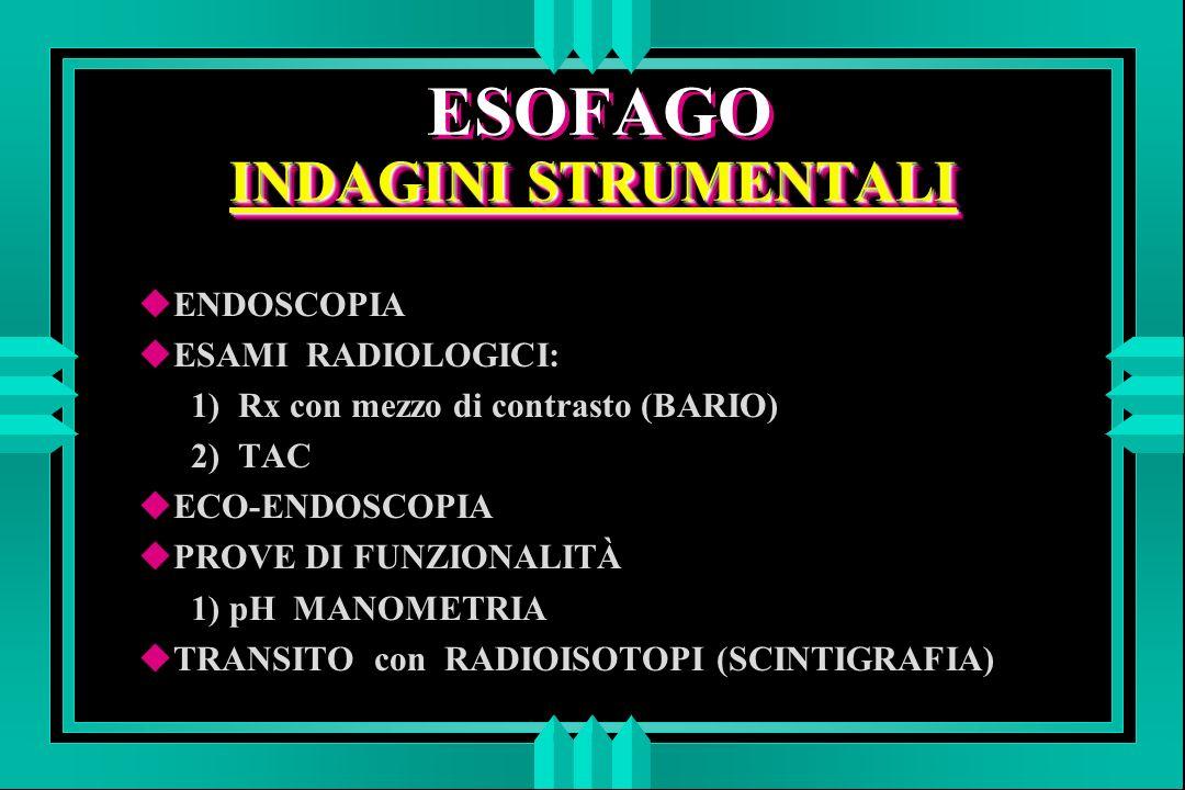 DIVERTICOLI DELL ESOFAGO u quelli FARINGOESOFAGEI e gli EPIFRENICI sono da pulsione e sono quindi formati solo da mucosa e sottomucosa u i MEDIO-TORACICI sono da trazione e tutta la parete esofagea partecipa alla composizione del diverticolo
