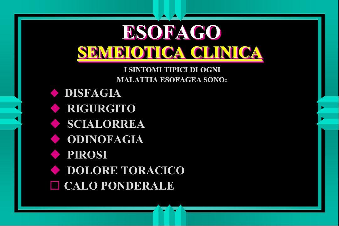 SEMEIOTICA CLINICA ESOFAGO SEMEIOTICA CLINICA I SINTOMI TIPICI DI OGNI MALATTIA ESOFAGEA SONO: u DISFAGIA u RIGURGITO u SCIALORREA u ODINOFAGIA u PIROSI u DOLORE TORACICO ¨ CALO PONDERALE