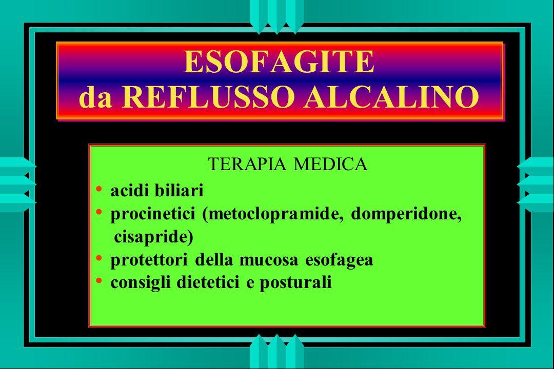 ESOFAGITE da REFLUSSO ALCALINO TERAPIA MEDICA acidi biliari procinetici (metoclopramide, domperidone, cisapride) protettori della mucosa esofagea consigli dietetici e posturali