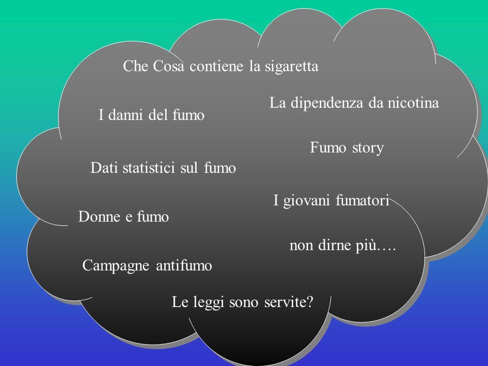Che Cosa contiene la sigaretta La dipendenza da nicotina I danni del fumo Dati statistici sul fumo I giovani fumatori Fumo story Donne e fumo Le leggi sono servite.