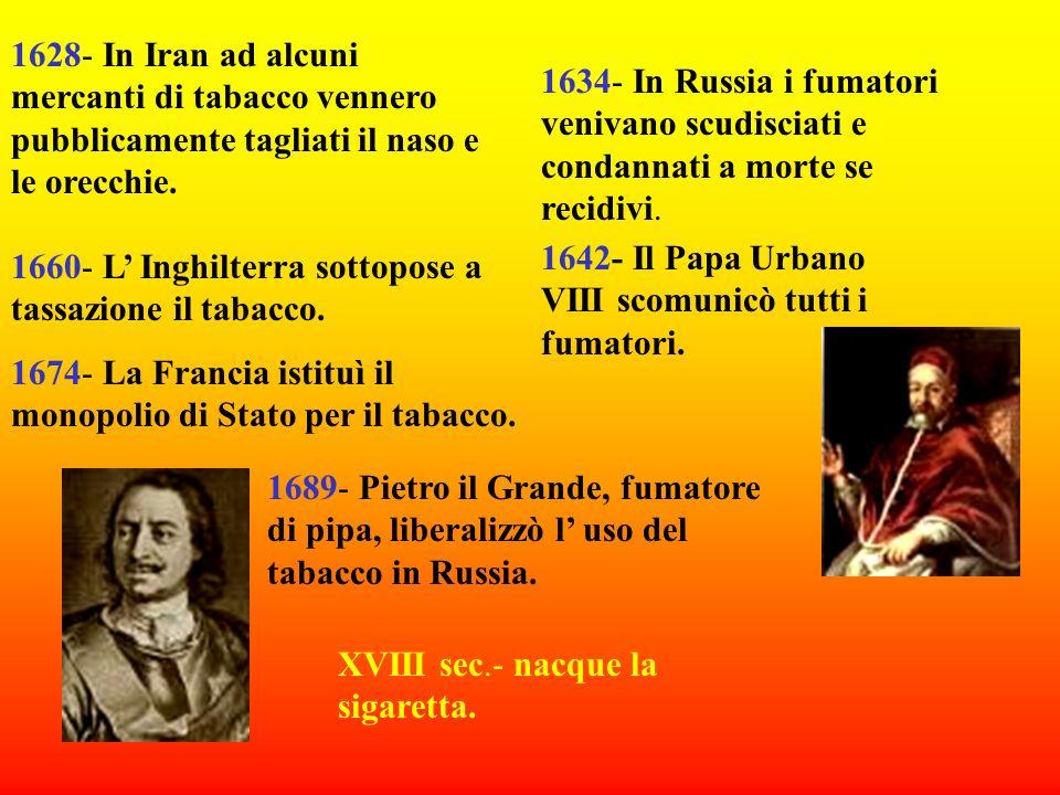1604- Giacomo I dInghilterra smentì pubblicamente le proprietà terapeutiche della sostanza. 1611- Nell impero Ottomano i fumatori venivano trascinati