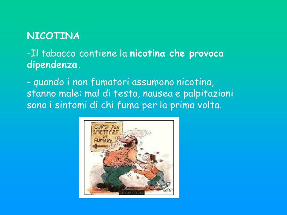NICOTINA -Il tabacco contiene la nicotina che provoca dipendenza.