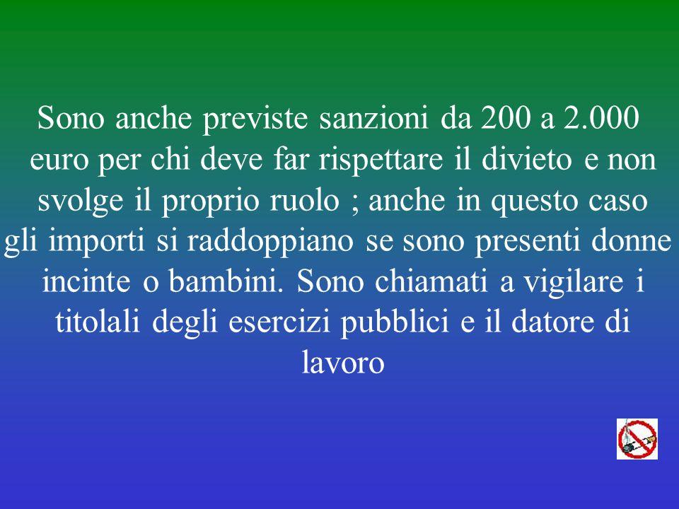 Tra gli effetti della legge 3/2003 ci sono per i trasgressori multe salate che vanno dai 25 ai 250 euro. Limporto della sanzione si raddoppia se si fu