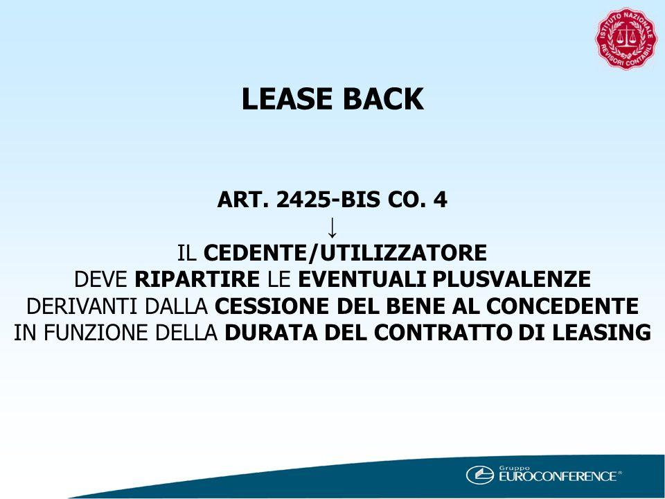 LEASE BACK ART. 2425-BIS CO. 4 IL CEDENTE/UTILIZZATORE DEVE RIPARTIRE LE EVENTUALI PLUSVALENZE DERIVANTI DALLA CESSIONE DEL BENE AL CONCEDENTE IN FUNZ