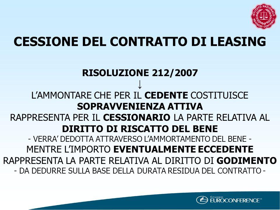 CESSIONE DEL CONTRATTO DI LEASING RISOLUZIONE 212/2007 LAMMONTARE CHE PER IL CEDENTE COSTITUISCE SOPRAVVENIENZA ATTIVA RAPPRESENTA PER IL CESSIONARIO
