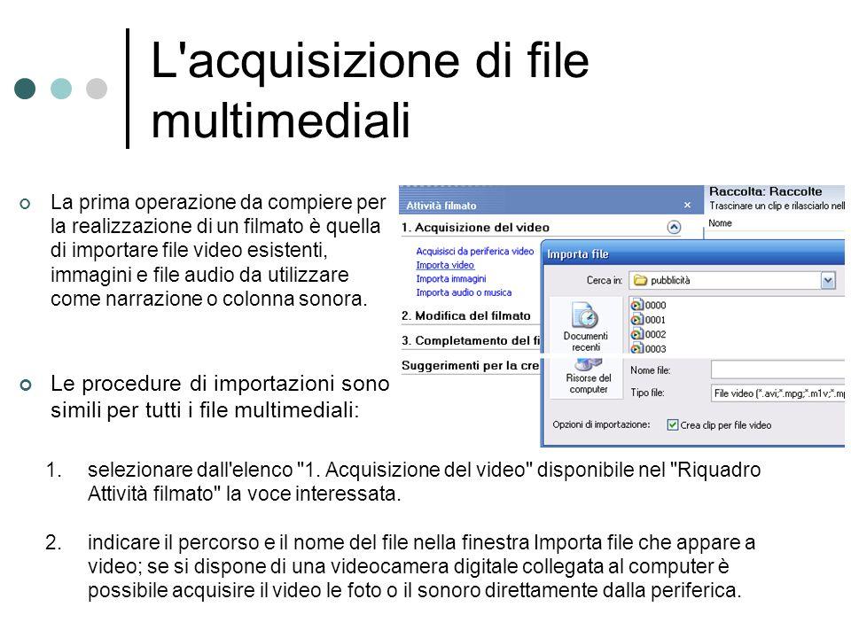L'acquisizione di file multimediali La prima operazione da compiere per la realizzazione di un filmato è quella di importare file video esistenti, imm