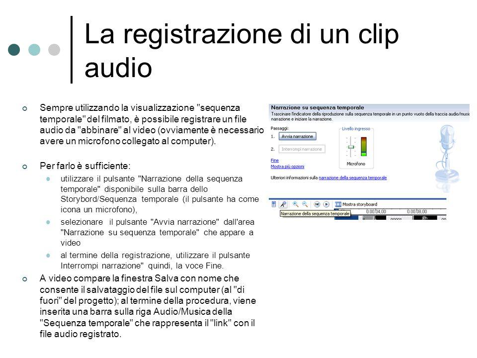 La registrazione di un clip audio Sempre utilizzando la visualizzazione