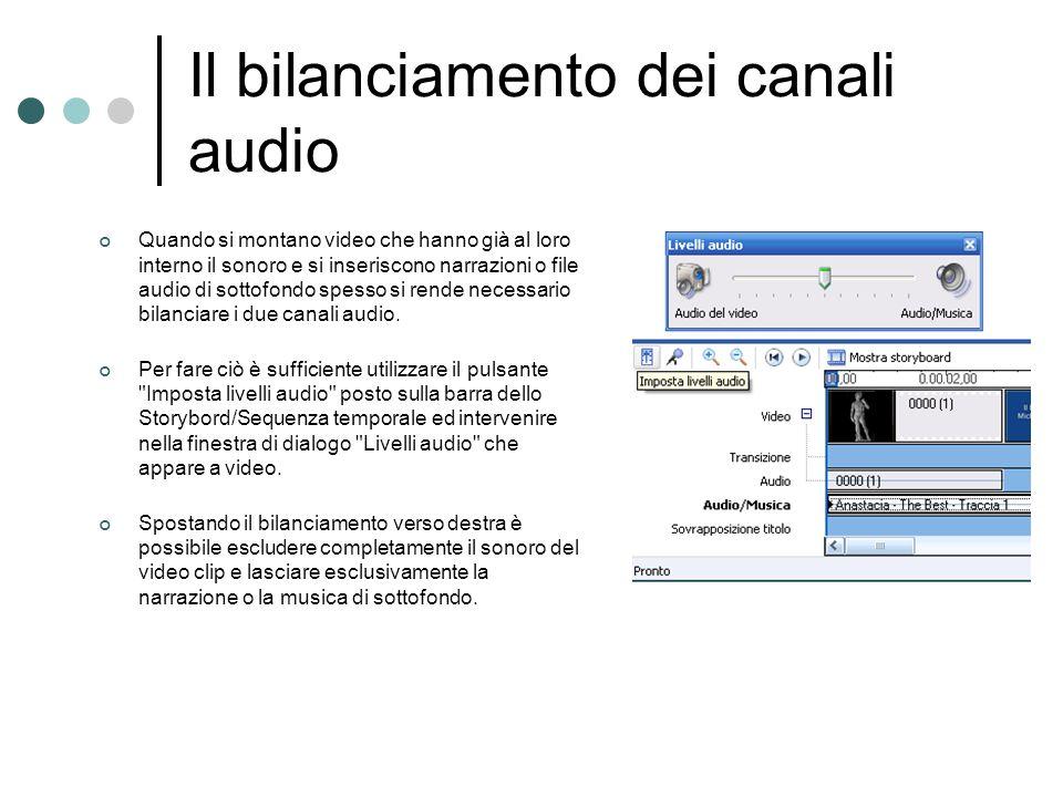 Il bilanciamento dei canali audio Quando si montano video che hanno già al loro interno il sonoro e si inseriscono narrazioni o file audio di sottofon