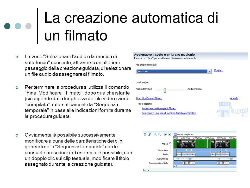 La creazione automatica di un filmato La voce