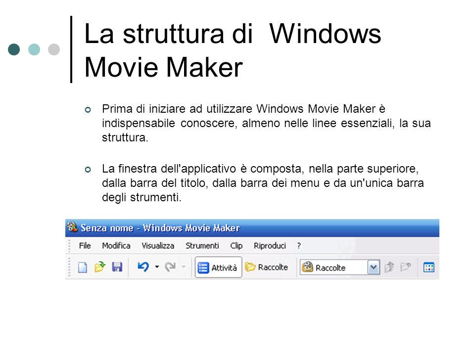 La struttura di Windows Movie Maker Prima di iniziare ad utilizzare Windows Movie Maker è indispensabile conoscere, almeno nelle linee essenziali, la