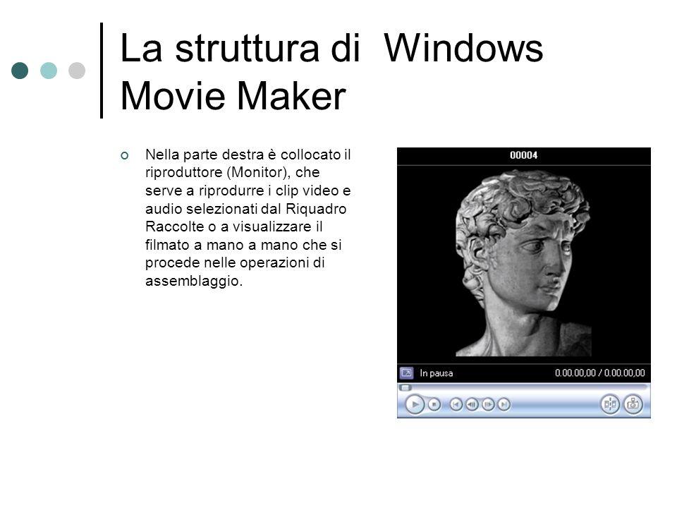 La struttura di Windows Movie Maker Nella parte destra è collocato il riproduttore (Monitor), che serve a riprodurre i clip video e audio selezionati