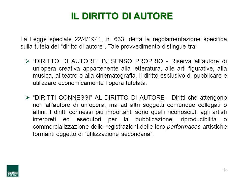 15 IL DIRITTO DI AUTORE La Legge speciale 22/4/1941, n. 633, detta la regolamentazione specifica sulla tutela del diritto di autore. Tale provvediment