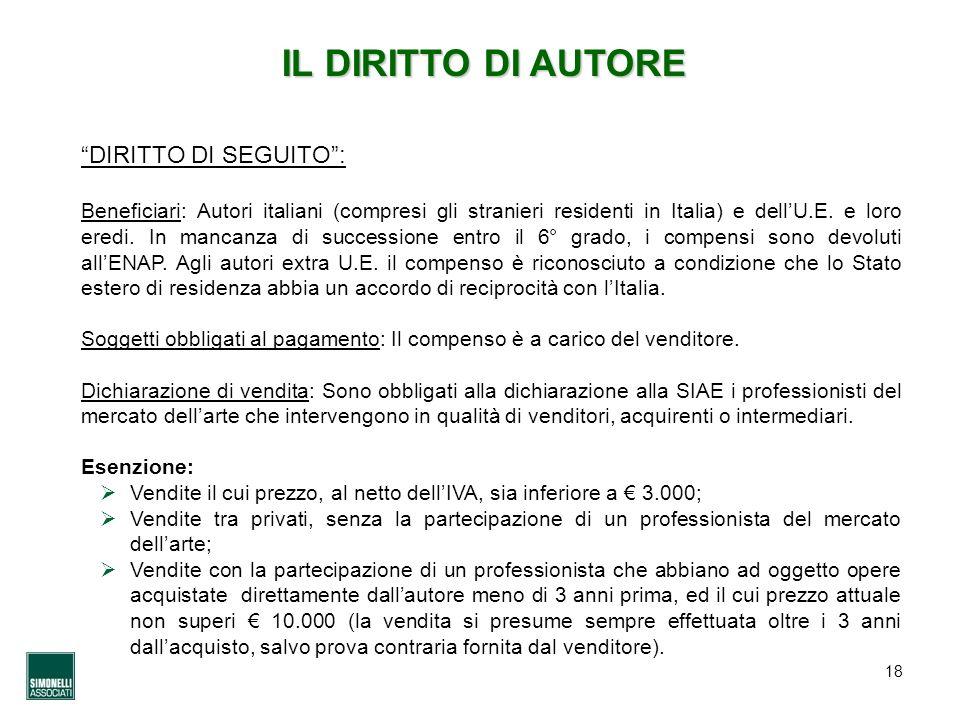 18 IL DIRITTO DI AUTORE DIRITTO DI SEGUITO: Beneficiari: Autori italiani (compresi gli stranieri residenti in Italia) e dellU.E. e loro eredi. In manc
