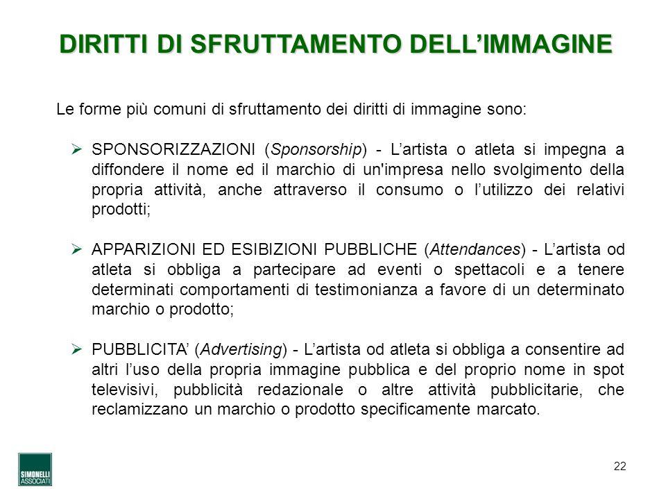 22 DIRITTI DI SFRUTTAMENTO DELLIMMAGINE Le forme più comuni di sfruttamento dei diritti di immagine sono: SPONSORIZZAZIONI (Sponsorship) - Lartista o