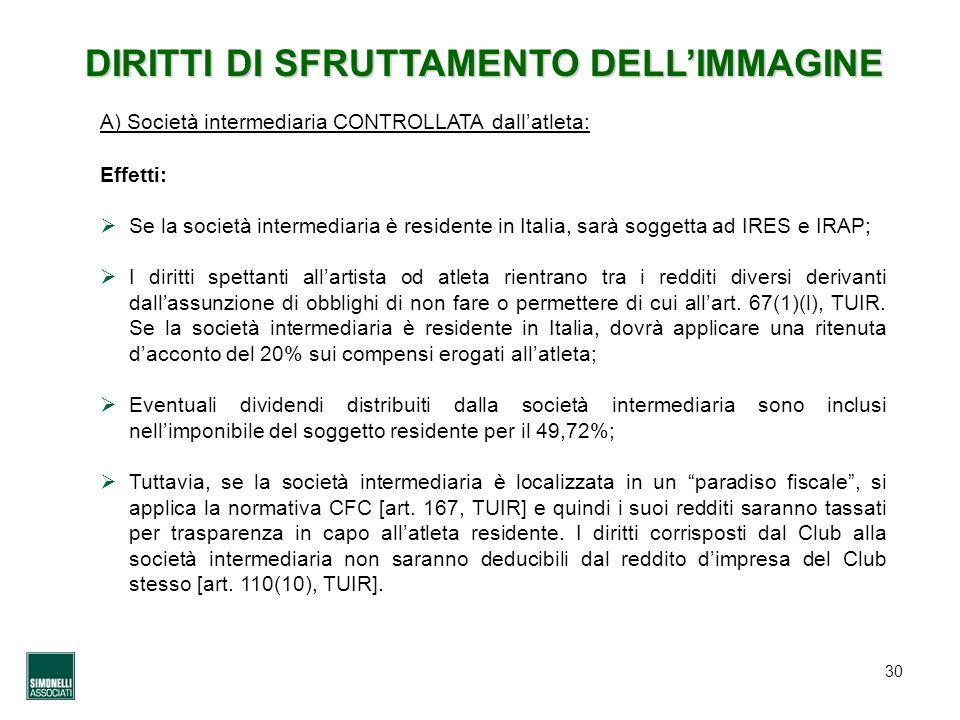 30 DIRITTI DI SFRUTTAMENTO DELLIMMAGINE Effetti: Se la società intermediaria è residente in Italia, sarà soggetta ad IRES e IRAP; I diritti spettanti