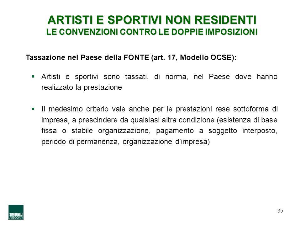 35 ARTISTI E SPORTIVI NON RESIDENTI LE CONVENZIONI CONTRO LE DOPPIE IMPOSIZIONI Tassazione nel Paese della FONTE (art. 17, Modello OCSE): Artisti e sp