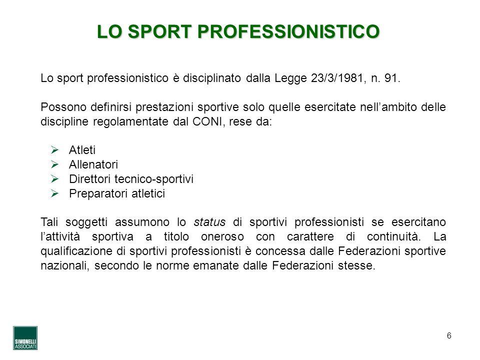 6 LO SPORT PROFESSIONISTICO Lo sport professionistico è disciplinato dalla Legge 23/3/1981, n. 91. Possono definirsi prestazioni sportive solo quelle