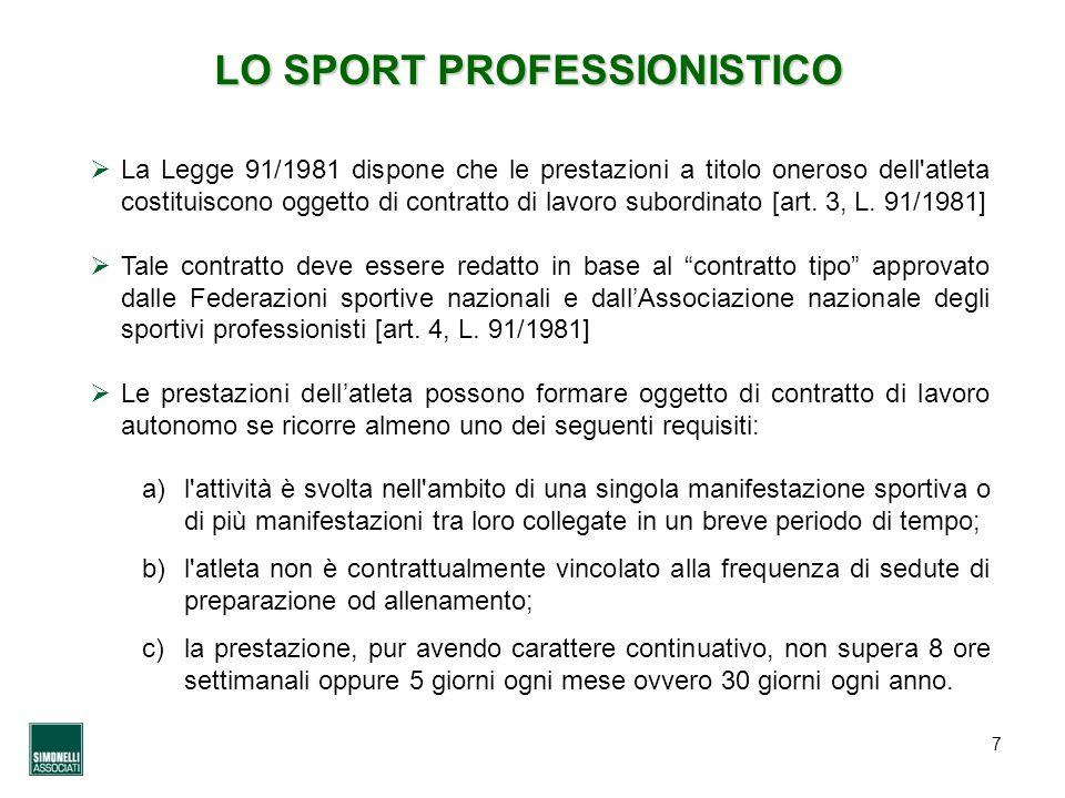 7 LO SPORT PROFESSIONISTICO La Legge 91/1981 dispone che le prestazioni a titolo oneroso dell'atleta costituiscono oggetto di contratto di lavoro subo