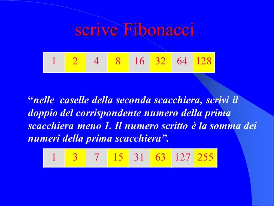Seguiamo linsegnamento di Fibonacci in unaltra scacchiera scriviamo, in ogni casella, la successione delle somme dei numeri scritti a partire dalla pr
