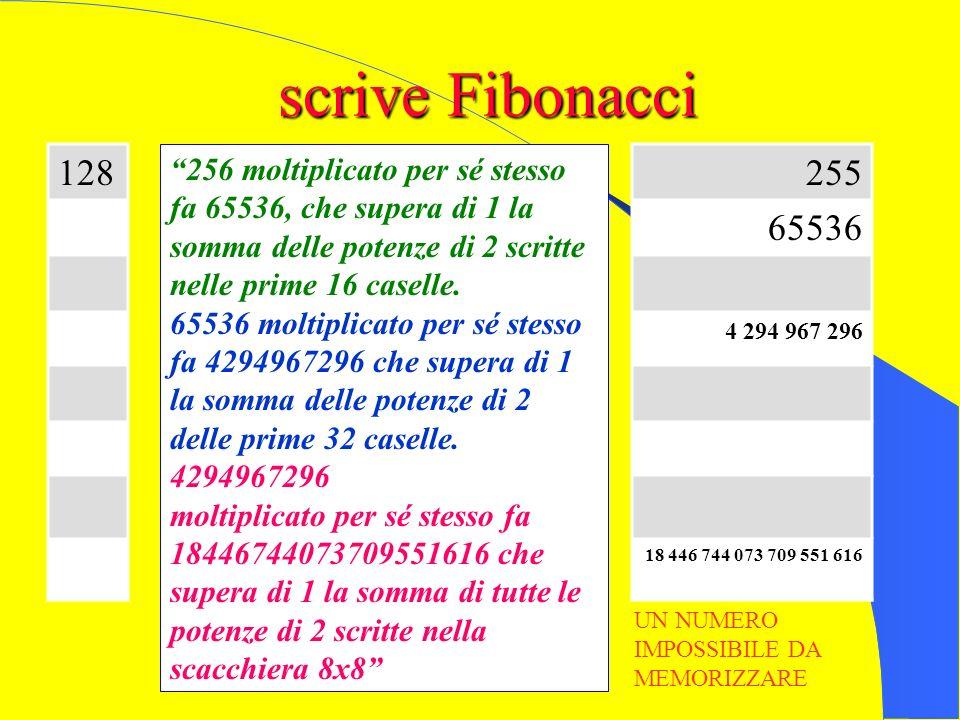 scrive Fibonacci nelle caselle della seconda scacchiera, scrivi il doppio del corrispondente numero della prima scacchiera meno 1. Il numero scritto è