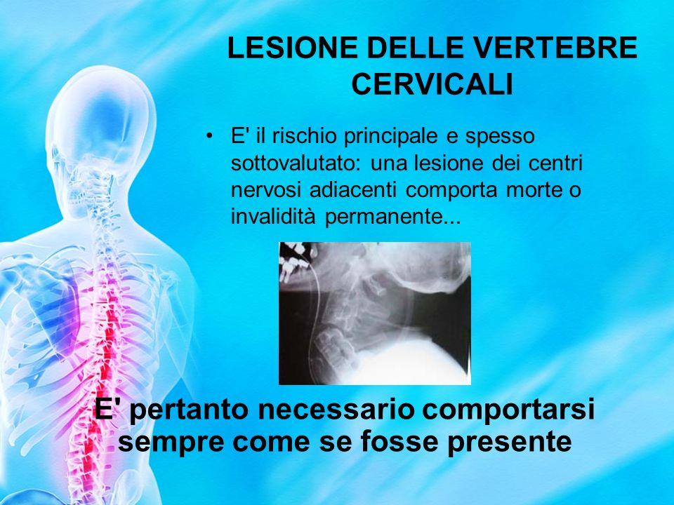 LESIONE DELLE VERTEBRE CERVICALI E' il rischio principale e spesso sottovalutato: una lesione dei centri nervosi adiacenti comporta morte o invalidità